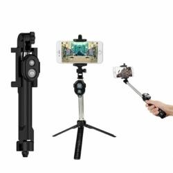 Selfie Stick Cu Telecomanda + Trepied (Negru)