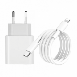 Incarcator APPLE 18W cu port USB-C + Cablu Lightning (Alb) MU7W2P/A
