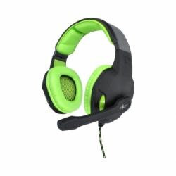 Casti de gaming cu microfon, stereo cu Mufa Jack 3.5mm + Adaptor (Negru/Verde) ART Lizard