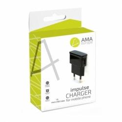 Incarcator 1A + Cablu MicroUSB (Negru) AMA