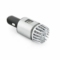 Incarcator Auto 2.1A cu 2 Porturi USB si Purificator de Aer (Argintiu)