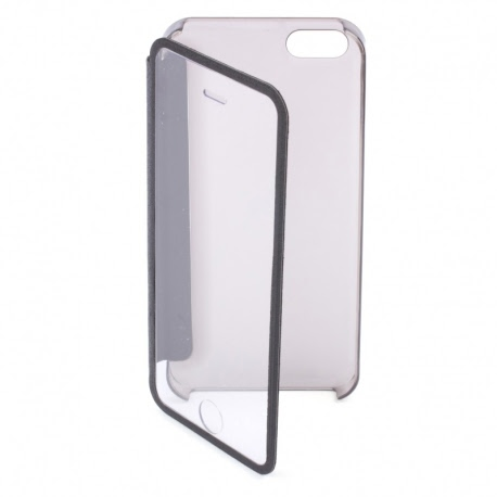 Husa APPLE iPhone 4\4S - Mega S-View (Negru&Transparent)