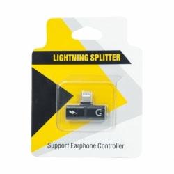 Splitter Lightning - Incarcare si Audio (Negru)