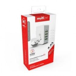 Incarcator Universal 4.4A cu 4 Porturi USB (Alb) MultiLine MW4403
