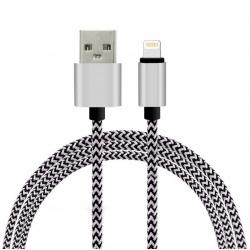 Cablu Date & Incarcare Textil - Lightning - 300 cm - Fast Charge (Argintiu) ATX