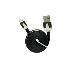 Cablu Date & Incarcare Plat MicroUSB - 2 Metri (Negru)
