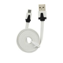 Cablu Date & Incarcare MicroUSB Plat - 1 Metru (Alb)