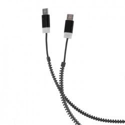 Cablu Date & Incarcare 2x MicroUSB - Zipper (Negru) Forever