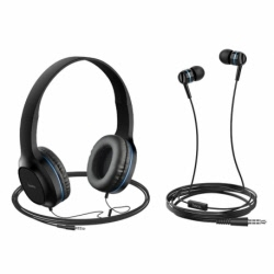Set Casti Audio + Casti Telefon cu Microfon (Albastru) HOCO W24