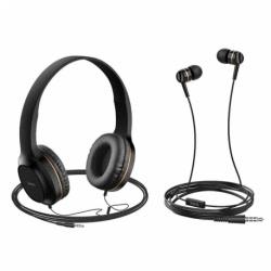 Set Casti Audio + Casti Telefon cu Microfon (Auriu) HOCO W24