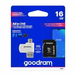 Card MicroSD 16GB + Adaptor + Cititor de carduri (Clasa 10) GoodRam